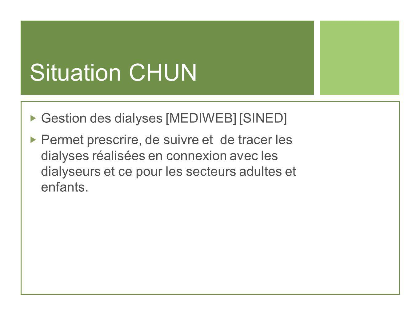 Situation CHUN Gestion des dialyses [MEDIWEB] [SINED]